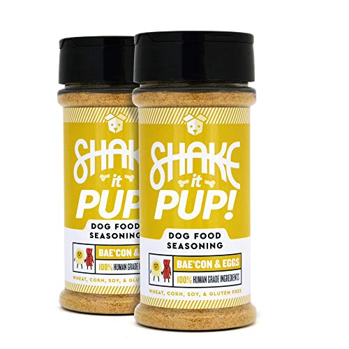 Shake it Pup! Dog Food Seasoning - Natural, Human Grade Powder Topper, Flavor Enhancer, Broth, and Gravy for Dogs Kibble or Raw, 4.5oz Bottles (Bacon & Eggs, 2-Pack)