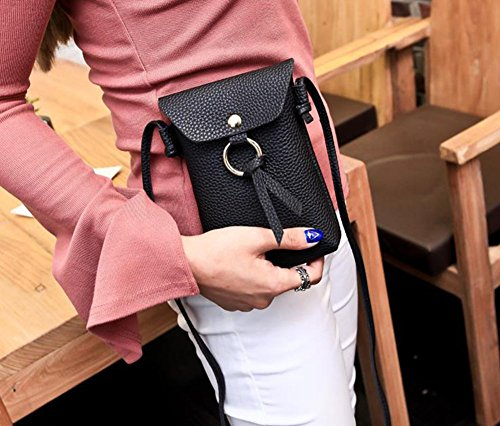 Joyfeel Mobile Women Black Purse Phone Coin PU Leisure Messenger Black Bag Bag Buy 1Pcs Simple Leather rwRqar