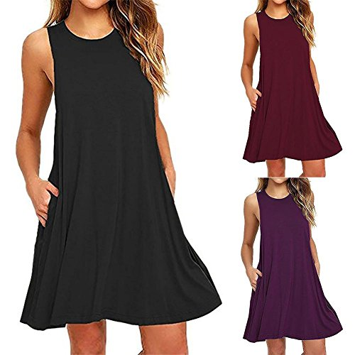 Sleeveless Shirt Pockets Black Women's Dress T ZHUOTOP Swing Aq4xFWaAw6