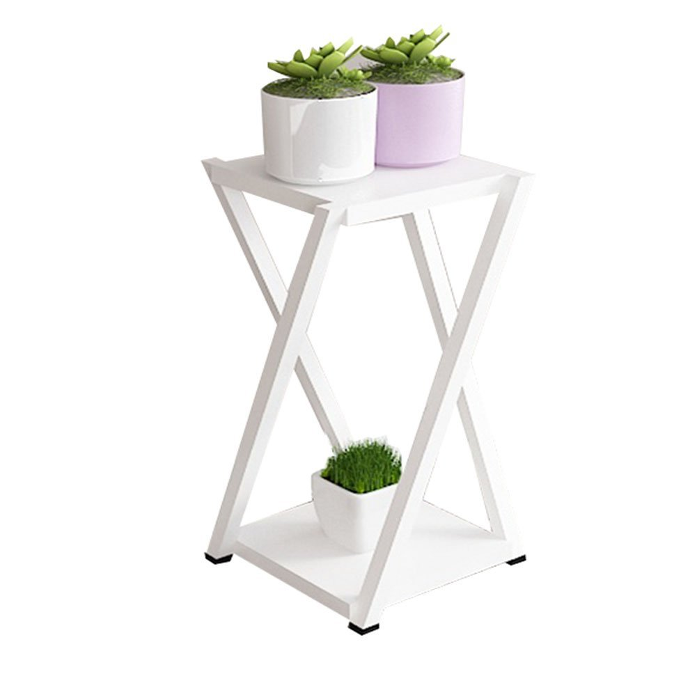 CSQ Living Room Wrought Iron Plant Stand, Double Layer Indoor Multifunction Potted Plants Assembly Flower Stand Office Study White (Size : 60CM)