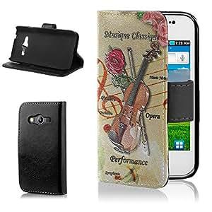 Postales Antiguas VP015, Notas Musicales, Negro Funda de Piel Cuero Case Magnética con Función de Soporte Carcasa con Diseño Texturado para Samsung Galaxy Ace 4 G357