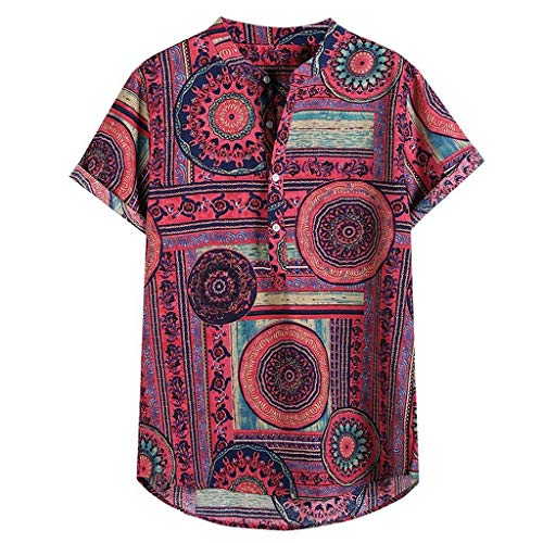 FEDULK Men's Henley Shirts Cotton Linen Ethnic Style Printed Short Sleeve Casual T-Shirt Summer Tee Tops(Red, X-Large)