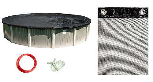 Buffalo Blizzard Bundle for 27-Foot-or-28-Foot Round Above-Ground Swimming Pools - Deluxe Blue/Black Reversible Winter Cover with 3-Foot Overlap and Mesh Leaf Net Cover Kit ()