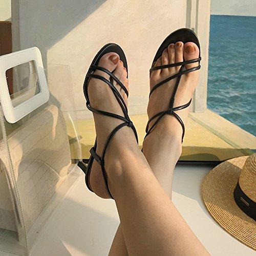Une DIDIDD Noir Hauts 36 avec Western Chaussures à Vraie Amende Boucle Talons des avec qr7xw6rt