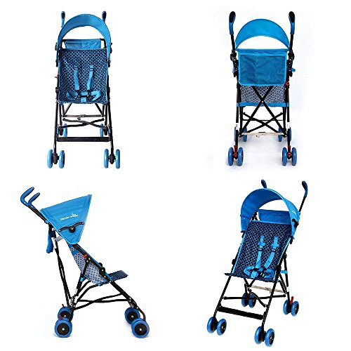 WonderBuggy Skyler Jumbo Umbrella Stroller | Features a Round Adjustable Canopy | Available in Hot Pink and Teal Blue (Teal Blue) by Wonder buggy (Image #4)
