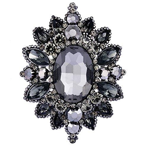 Tone Rhinestone Pin Brooch (EVER FAITH Women's Rhinestone Crystal Elegant Sunflower Brooch Black Black-Tone)