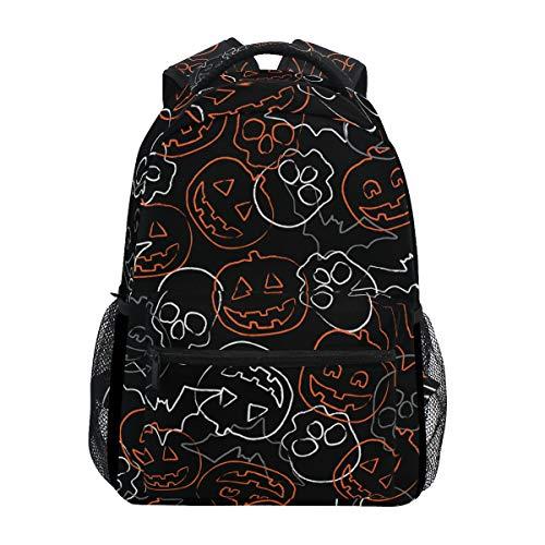 COVOSA Seamless Halloween Pattern Swatch Skulls Pumpkins Lightweight School backpack Students College Bag Travel Hiking Camping Bags ()