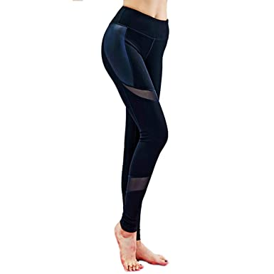 BYBYFf Yoga Women Mesh Leather Splice Leggings High Waist ...