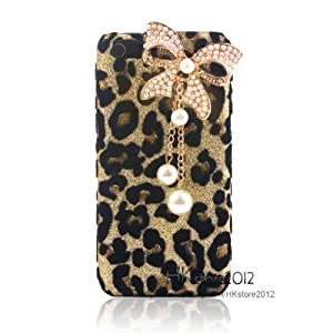 Bling Diamond Glitter Bow White Pearls Leopard Hard Case Cover For Apple iphone 5C