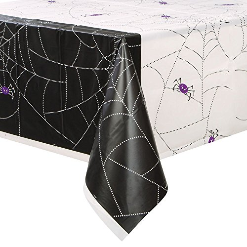 Spider Web Halloween Plastic Tablecloth, 84