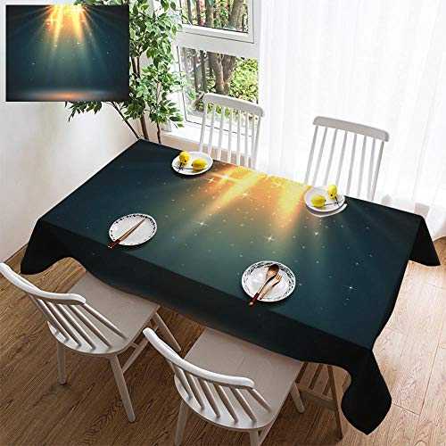 HOOMORE Simple Color Cotton Linen Tablecloth,Washable, Abstract Magic Light Background Golden Holiday Burst Decorating Restaurant - Kitchen School Coffee Shop Rectangular 54×39in