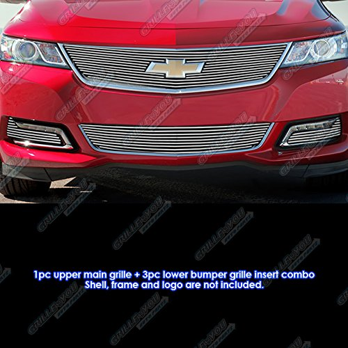 APS Fits 2014-2015 Chevy Impala W/Logo Show & Fog Light Cover Billet Grille Combo #C61246A