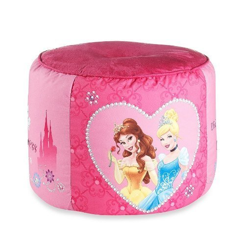 Disney Princess Tiara Jewels 15'' x 15'' Pouf Pillow Ottoman, Pink