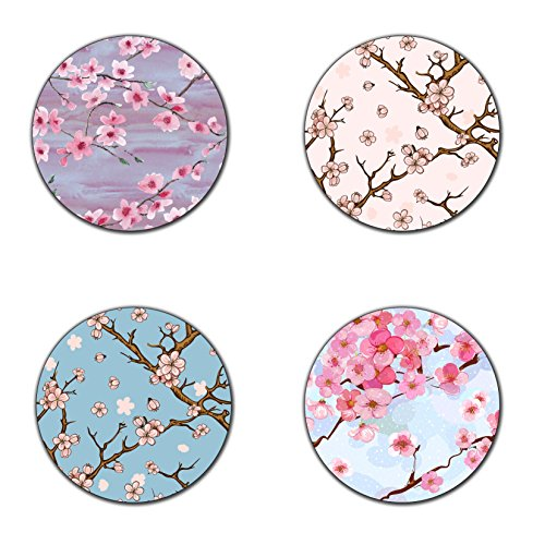 Beautiful Cherry blossom flowers coasters- 4 inch diameter-Round - neoprene coasters- Eco-Friendly, Made From 100% Recycled Rubber(Set of 4 ) ()