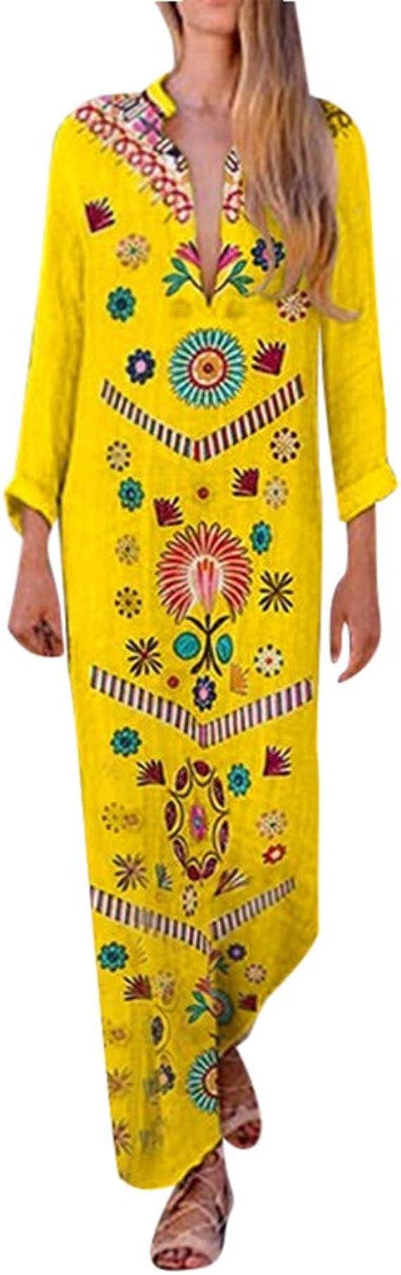 iHAZA- Vestido Blanco Vestido Boho Mujer Vestidos Largos Mujeres Algodón y Lino Estampado con Cuello en V Ranura Lateral Vestidos Bohemios Shift Boho Vestido Largo: Amazon.es: Ropa y accesorios