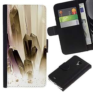 KingStore / Leather Etui en cuir / Samsung Galaxy S4 Mini i9190 / Pintura oro blanco Joyas Limpio