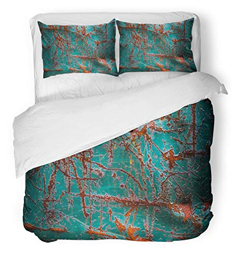Emvency 3 Piece Duvet Cover Set Breathable Brushed Microfiber Fabric Brown Aged Abstract Grunge Rusty Metal Red Alloy Antique Construction Copper Bedding Set with 2 Pillow Covers King Size