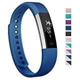 Fitness Tracker, 007plus D115 Concise Style Point Touch Activity Tracker (Blue/Silver)