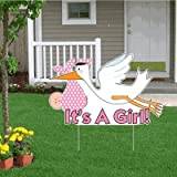 ''It's a Girl'' Die Cut Stork, Baby Announcement Yard Sign (Light Skin Toned Baby)