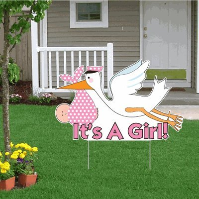 Announcement Birth Stork Girl (It's a Girl Announcement Kit – (lt)Stork Yard Sign, Baby on Board and Baby Sleeping Signs)
