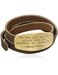 Classic Everyday Fashion Marilyn Monroe Inspirational Quote Engraved Shine Wrap Leather Bracelet in Gold Tone Plating