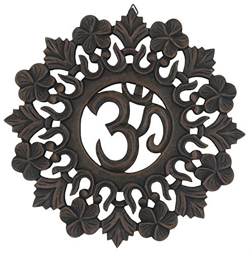 - DharmaObjects Handcrafted Wooden Om Wall Decor Hanging Art
