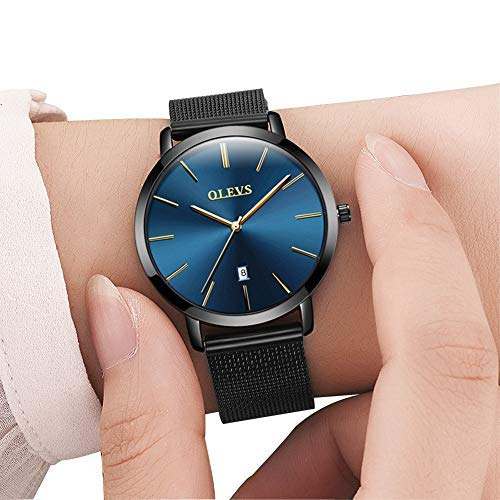 Ladies Quartz (Womens Watches Stainless Steel Brand Luxury Wrist Watches for Women, Quartz Analog Watch with Date Fashion Watches for Girls Casual Dress Womens Water Resistant Wrist Watches, Ultrathin Blue Dial)