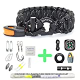Paracord Bracelet Survival Gear - 550 Premium Black Reflective Parachute - Outdoor Emergency