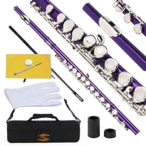 Flauta traversa purpura llaves en C c/ funda accesorios xmp