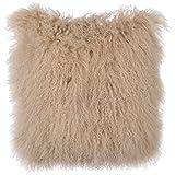 Decorative Pillow Cover - SLPR Mongolian Lamb Fur Throw Pillow Cover (24'' x 24'', Beige) | Real Fur Decorative Cushion Cover Pillow Case for Living Room Bedroom