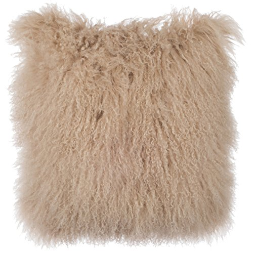 16' Decorative Throw Pillow - SLPR Mongolian Lamb Fur Throw Pillow Cover (16'' x 16'', Beige) | Real Fur Decorative Cushion Cover Pillow Case for Living Room Bedroom