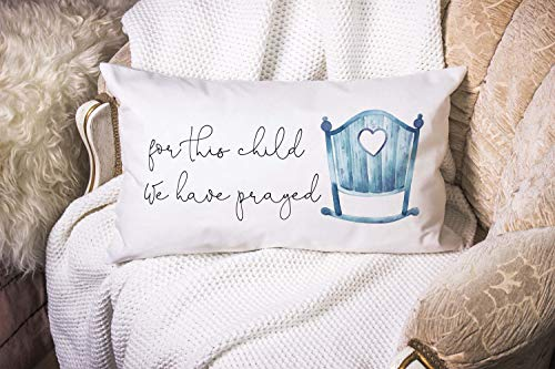 Dozili Christian Nursery Boy Crib Pillow Covers Bible Verse Pillow Cases for This Child We Have Prayed Christian Mom Gift