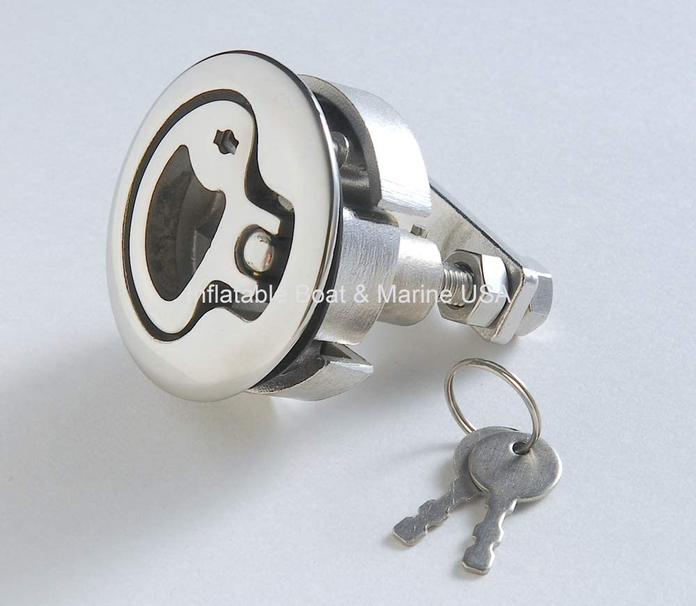 """Boat Hatch Turning Lock Lift Ring T Handle Latch 2/"""" Stainless Steel Hardware"""