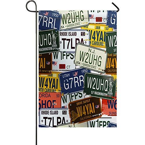 (zhurunshangmaoGYS Vintage Garden Flag House Banner Decorative Flag Home Outdoor, Original Retro License Plates Personalized Creative Travel Vacation Theme Yard Flag 12 x 18inch)
