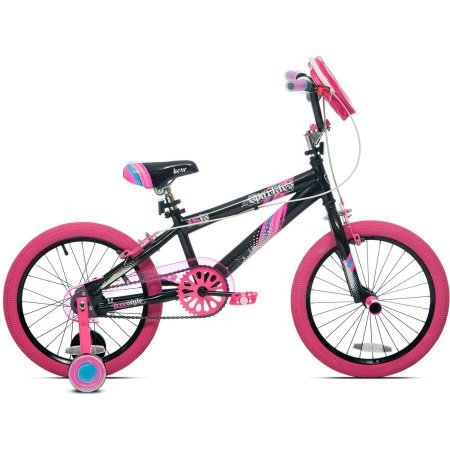 18'' Girls' Kent Sparkles Bike with Bell Sports Rally Girls Child Helmet, Pink Splatter