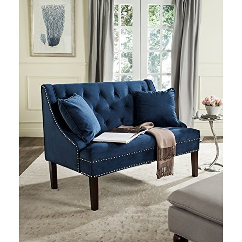 Safavieh Zoey Navy Velvet Settee   This Modern Love Bench Was Inspired By The Contemporary Renovation   Blue