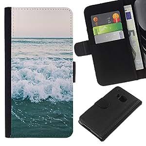 WINCASE ( NO PARA HTC ONE MINI M4) Cuadro Funda Voltear Cuero Ranura Tarjetas TPU Carcasas Protectora Cover Case Para HTC One M7 - horizonte del océano olas del mar del verano