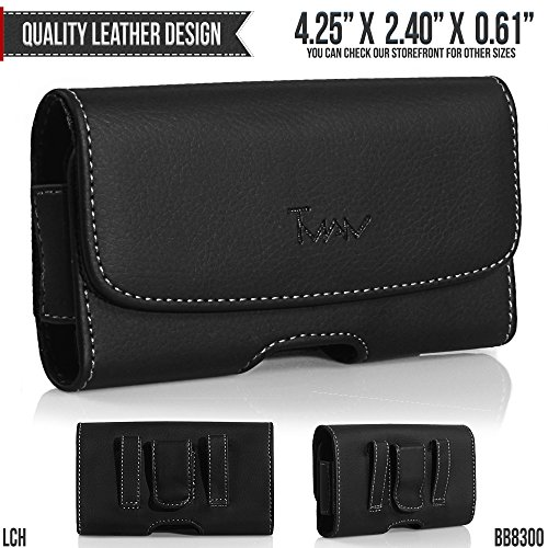 (BLU SAMBA Q Q110 Belt Pouch, TMAN [Leather Horizontal] Metal Clip Holster/Magnetic Closure Case, Cover with Belt Loop Carrying Protective - Fits Cellphone without any)