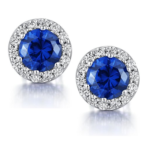 Blue Halo Cubic Zirconia Earrings Sterling Silver Earrings Studs 10mm CZ Halo Stud Earrings,Sterling Silver Diamond Earrings Blue Crystal Stud Earrings,Fake Diamond Earrings,Fake Diamond Post - Cut Sapphire Crystal