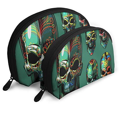 Amazon.com : Makeup Bag Dia De Los Muertos Skull Portable ...