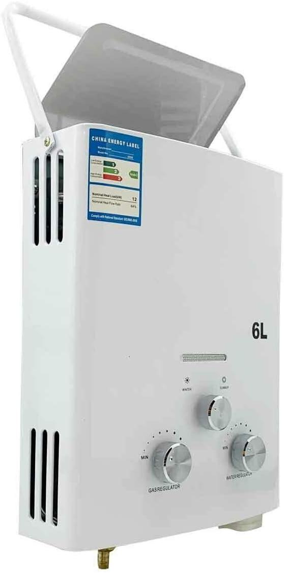 DOMINTY Tragbarer Gas-Durchlauferhitzer 12KW Wasserboiler Boiler LPG Water Heater Warmwasserbereiter Camping Dusche Shower Bad 6 liter Campingdusche Tierpflege