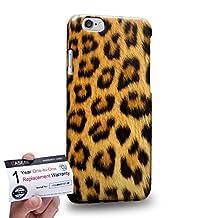 "Case88 [Apple iPhone 6 / 6s (4.7"")] 3D Printed Snap-on Hard Case & Warranty Card - Animal Fur Skin Print Pattern -- Leopard 4323"