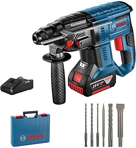 Bosch Professional GBH 18V-20 Martillo perforador, 1 bateria x 4,0 Ah, 1,7 J, set de 6 accesorios, 18 V, en maletin, Multicolor - Amazon Edicion