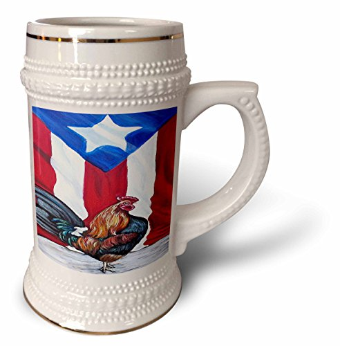 (Melissa A. Torres Puerto Rican Art - Rooster with Puerto Rican Flag - 22oz Stein Mug (stn_186792_1))