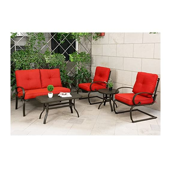 "Cloud Mountain 5 Piece Metal Conversation Set Cushioned Outdoor Furniture Garden Patio Wrought Iron Conversation Set with Coffee Table Loveseat Sofa 2 Chairs, Brick Red - 【COMFORTABLE CUSHION】: This set features durable Sponge (Interior) / Olefin fabric (Cover), which is strong and easy to clean. Seat cushion with tether to fix it from being blown. Cushion with 6"" thickness gives you the best experience than others. 【ARTISTIC STRUCTURE DESIGN】: Our outdoor chair with bow-shaped legs provide a comfortable seating experience. This design can support the maximum weight capacity and provide a bow function. Table with hollow-carved table can be easily clean and support much more items on it. Durable wrought iron frame for a long time use. 【HUMANIZATION ANTISKID FOOT】: Patio chair set with table is attached with anti-skid rubber foot cushion, which can effectively protect you from sliding when you are sitting in chairs and protect your phones, wines, etc. from falling down. It is safer than others. - patio-furniture, patio, conversation-sets - 51ysRCo4zjL. SS570  -"