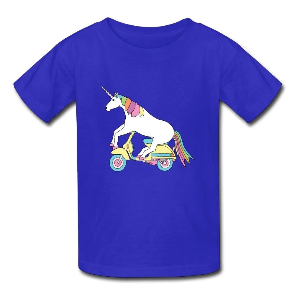 Cute Short Sleeve Shirt Unicorn Electric Vehicle Birthday Day Baby Boy Kids