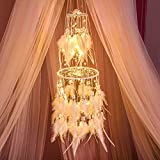 indian room decor Dremisland Double Circle White Feather Dream Catcher with Mobile LED Fairy Lights Wall Hanging Ornaments Ceiling Decor for Bedroom Decor Wedding Decorations Boho Chic Party Nursery Decor