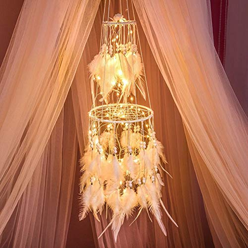Dremisland Double Circle White Feather Dream Catcher with Mobile LED Fairy Lights Wall Hanging Ornaments Ceiling Decor for Bedroom Decor Wedding Decorations Boho Chic Party Nursery Decor ()