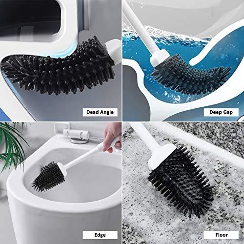WOOHSE Toilettenbürste Set Silikon, WC Bürste mit Halter Wandmontage & Stehen, Langer Stiel Klobürste mit schnell trocknendem Haltersatz für Badezimmer oder Gäste-WC