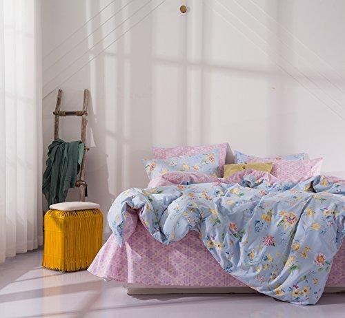 Bed SET Bedding Set Duvet Cover Fitted Sheet Pillow Covers Queen Sheets Set Size 78''x91'' CJF No Comforter Stripe Lattice Garden Flower Fashion Design for Kids (Dance Flower, Blue, Queen 78''x91'')